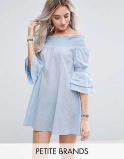 Missguided Petite Bardot Frill Sleeve Mini Dress