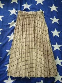 Brown Checkered Long  Skirt