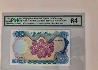 $50 Orchid Series HSS no seal UNC PMG 64 Singapore