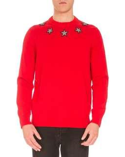 Givenchy men star sweater red 紅色 針織 xs