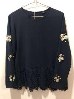 Preloved Navy Lace Top with 3D flowers at sleeves and diamonds (size: M)