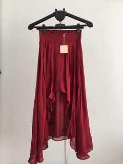 WHAT Goes AROUND COMES AROUND Maxi Skirt(Maroon)