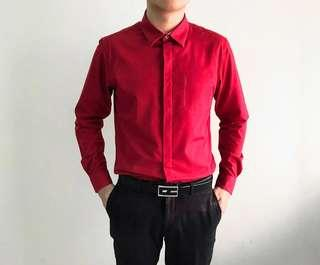 (NEW) Padini, Long Sleeves Formal Top, Size S, Red