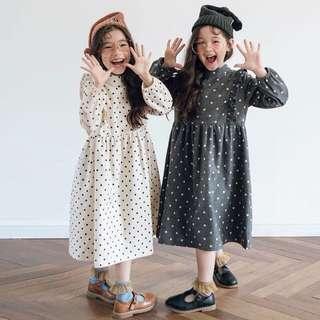 🚚 預購「110-160碼中大女童點點荷葉洋裝童裝」