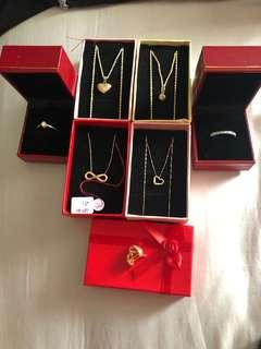 Gold necklaces, rings and earrings