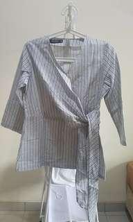 Kimono Linen Wrap Top Blue Grey