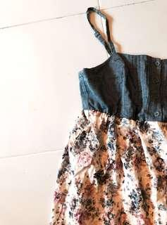 floral button up spag ruffled dress / babydoll dress