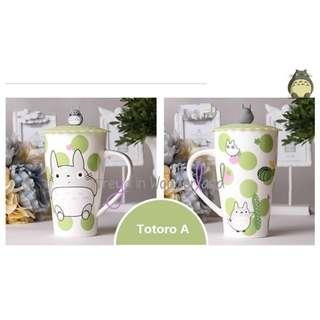 🚚 4 Designs! Totoro Ceramic Mug Cartoon Eco Cups with Cup Lid Mugs Set Creative Drinking