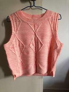 🚚 PEACH PINK KNITTED SLEEVELESS TOP