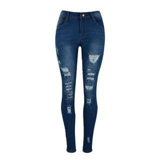 Dark Denim Ripped Skinny Jeans