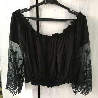 Black lace boho off shoulder