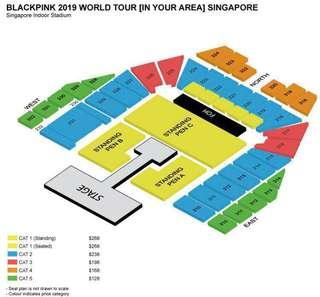 blackpink 2019 singapore concert ticket - cat3 x2