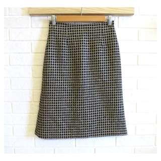 🚚 wanko 毛料格紋及膝裙 S