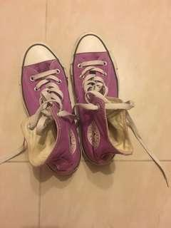 Purple converse sneakers 紫色高筒 fit for 37-38 size