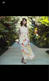 Love and bravery floral maxi skirt slit