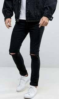 BNWT ASOS Super Skinmy 12.5oz jeans with knee rips