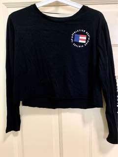 Factorie Black Athletic Dept Club Vintage Long Sleeve Crop Top