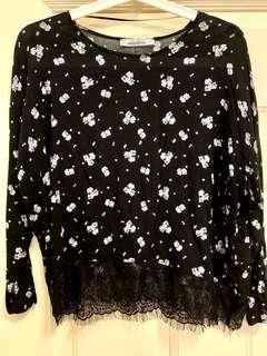 Pull&Bear Black Flower Lace Top