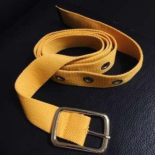 黃色釘釦布面潮流長皮帶(男女皆可使用)