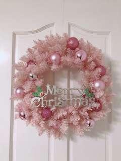 全新粉紅聖誕花環50cm