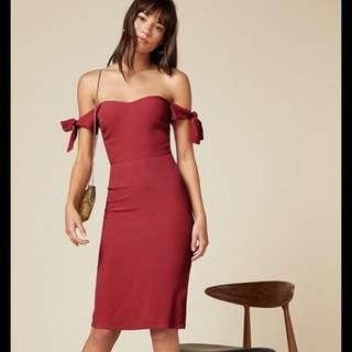 Reformation US4 Marla Off Shoulder Dress in Maroon