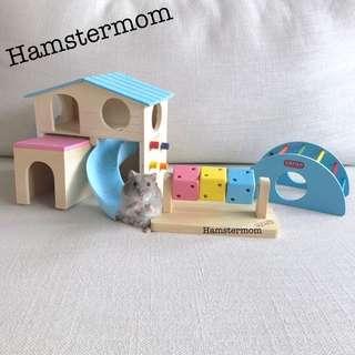 Dwarf Hamster 3pc Set Blue Playground Wooden House Toy Set