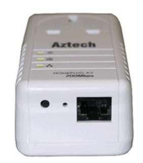 Aztech 200Mbps HomePlug AV Ethernet Adapter with AC Pass Through x3
