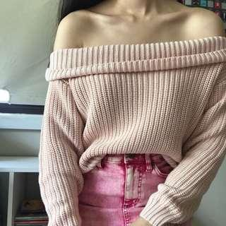 bardot pink off shoulder jumper