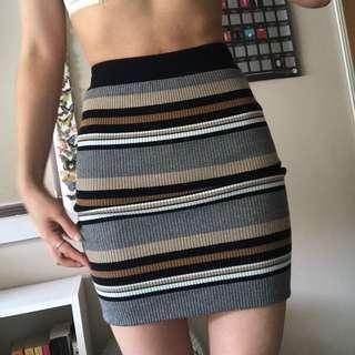 stripe knit skirt