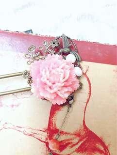 貴妃紅釉 髮簪