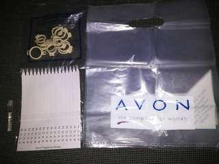 Avon lavender essential oil vial, fragrance straws, ring sizer and bags