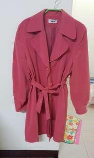 🚚 (古著)乾燥玫瑰色風衣