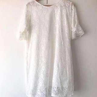White Lace Beach Shift Dress