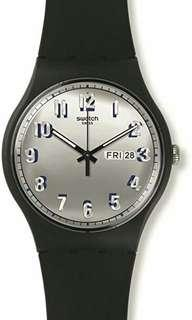 Swatch Watch SUOB718 silver day date black silicon unisex