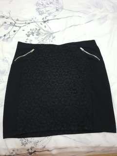 H&M Metallic Zipped Print Skirt