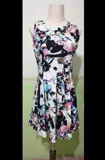 Floral Graffiti Prints Dress