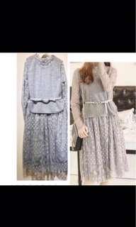 🚚 灰色蕾絲洋裝