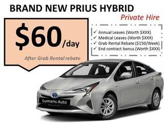 Toyota Prius S - Brand New Car Rental for Grab/Private Hire