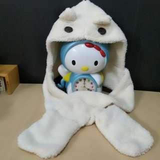 米白色毛絨絨可愛小熊帽子圍巾 免運費