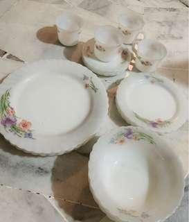 Elegant Ceramic Plates Translucent Indopal Floral Dinner Set 20pcs