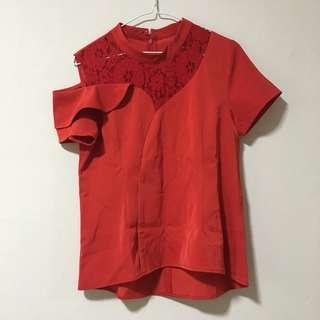 🚚 Red lace top