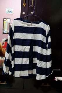 Blouse Stripe White-Navy