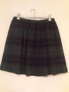 Tartan wool mini skirt
