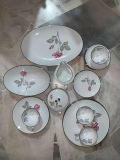 Dinner Set 24pcs Zlystra Rose Silver Accent China Ceramic Dinner Set Vintage