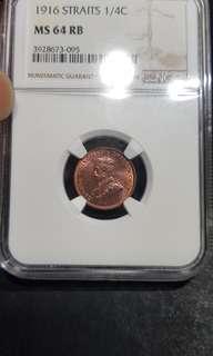 1916 straits 1/4 cents