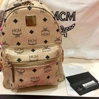 Authentic MCM Stud Backpack Beige Small Size/ Ransel/ Tas Punggung