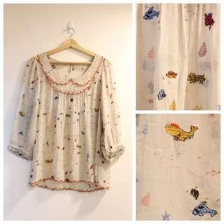 *$320即買*日本 franche lippee Cherir La Femme 可愛海洋生物刺繡中袖上衣 Top 印度製 新品同樣