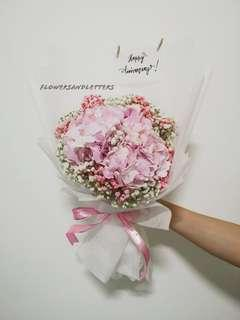 Hydrangea Bouquet mixed white and pink baby's breath hand bouquet