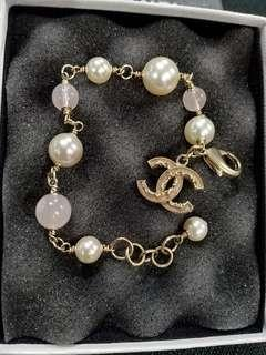 Chanel White and Baby Pink Pearl Bracelet