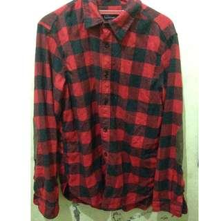 Flannel GAP pattern oxford shirt in strecht (black and red)